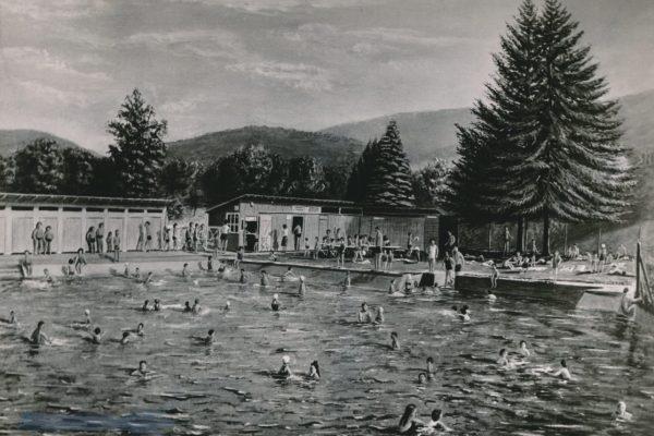 """In das erste Eberstädter Schwimmbad floss Modauwasser: Es wurde im Volksmund """"Flohbad"""" genannt, weil es so klein und eng dort war."""
