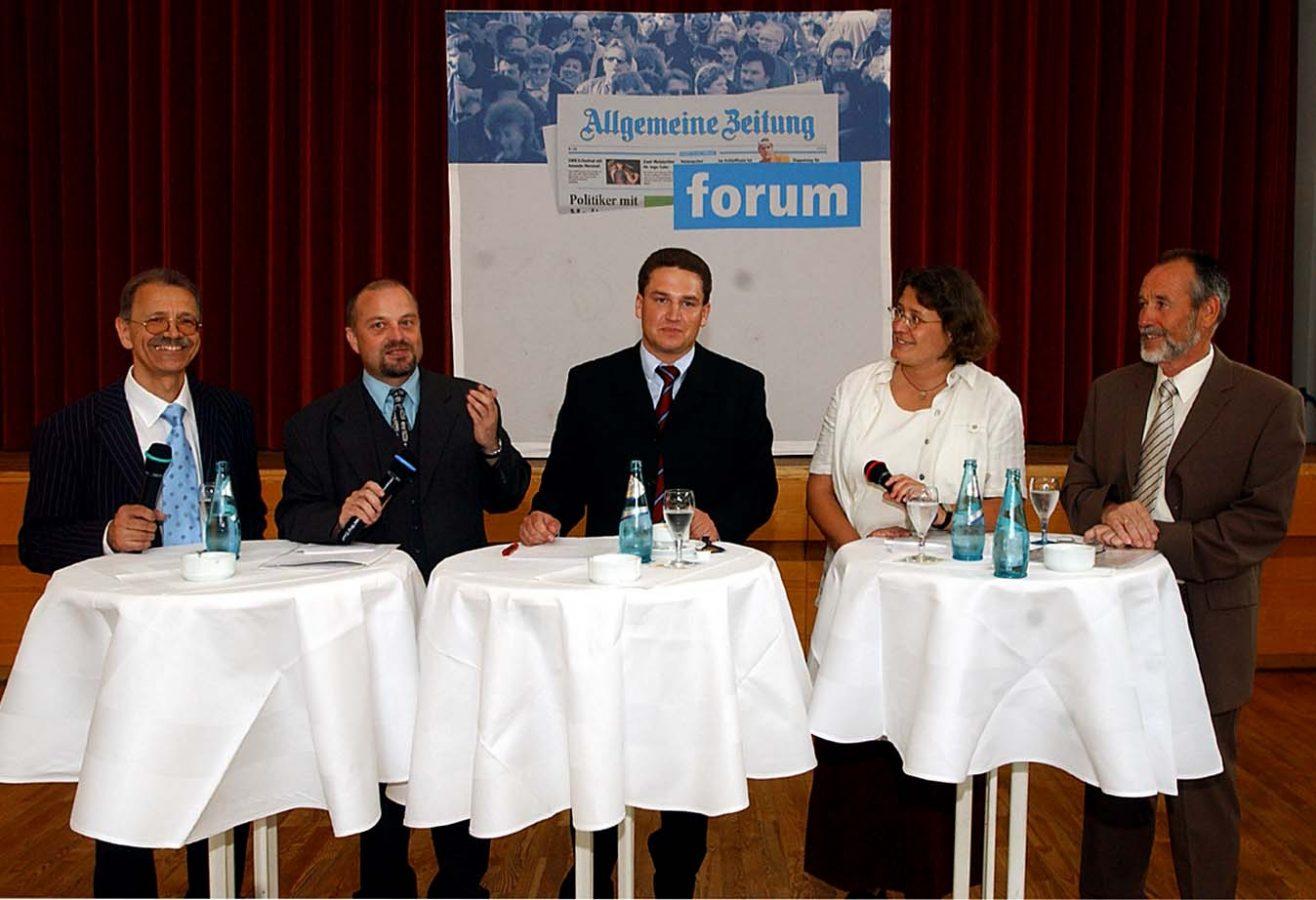 Marcus Held (Mitte) stellt sich beim AZ-Wahlforum 2004 den Fragen der Redakteure (Foto: Bahr)